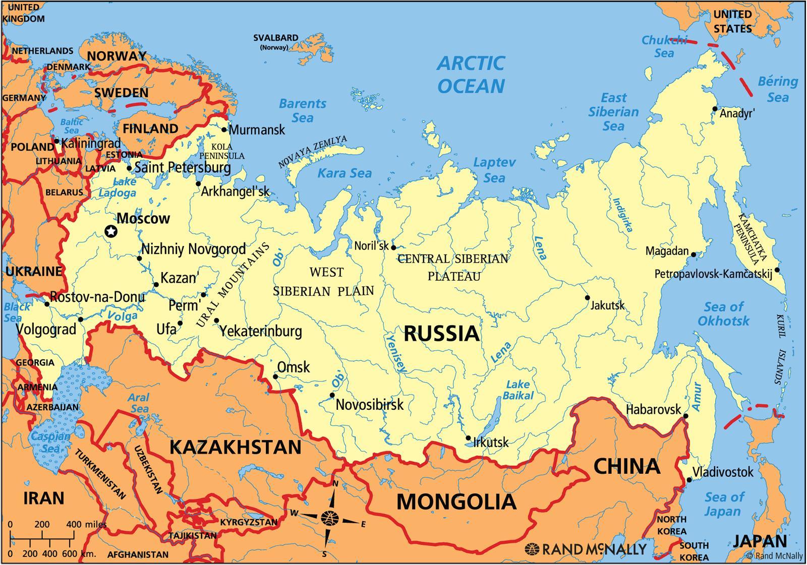 Aktuelle Kort Over Rusland Nuvaerende Russiske Kort Ostlige