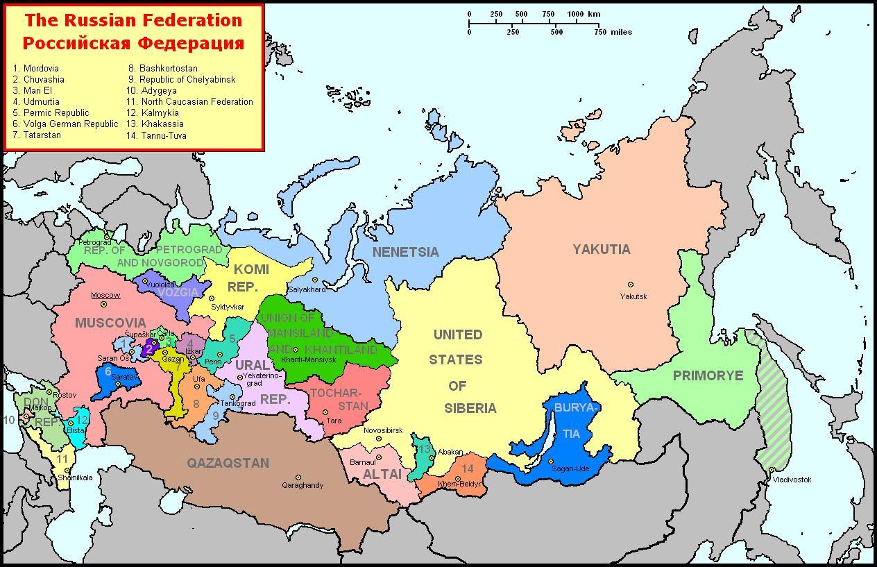 Kort Over Det Moderne Rusland Moderne Kort Over Rusland Og