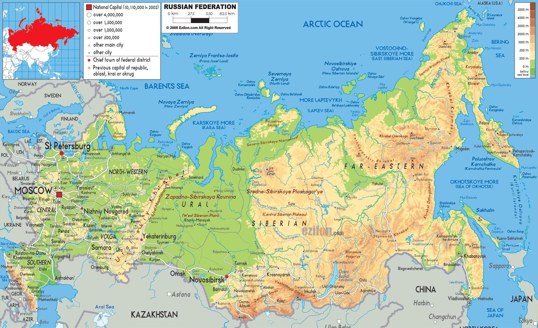 Ruslands Kort Kort Over Rusland Og Ostlige Europa Europa