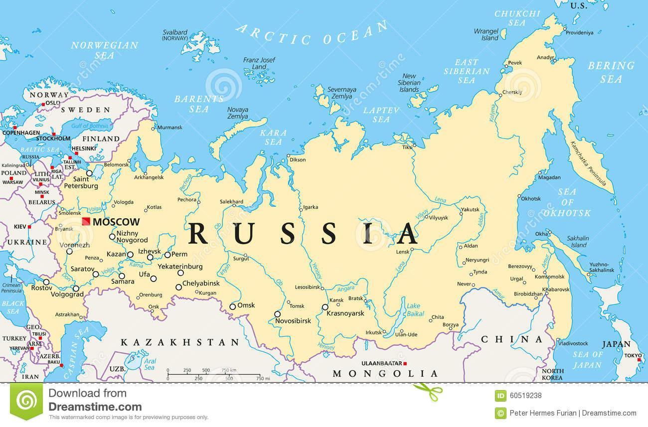 Russiske Politiske Kort Kort Over Rusland Politiske Ostlige