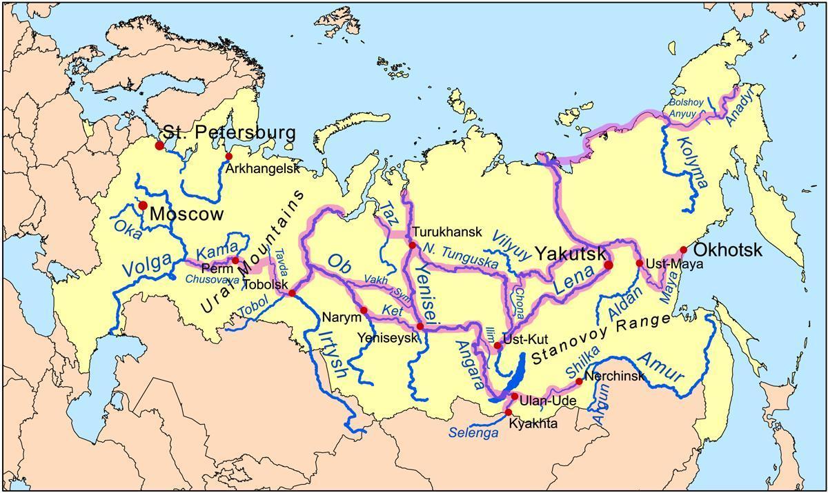 Floder I Rusland Kort Kort Over Floder I Rusland Det Ostlige