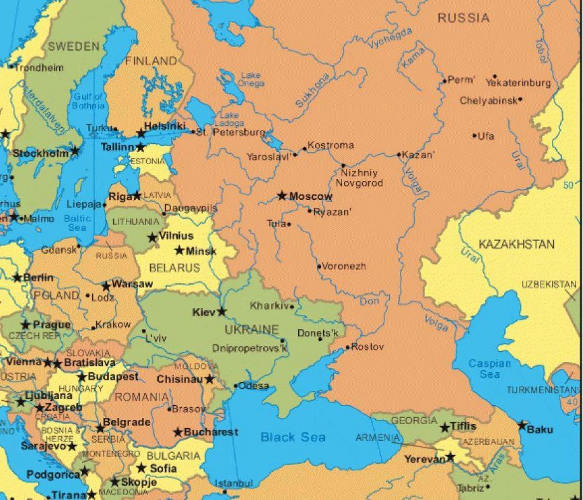 Kort Over Rusland Og Osteuropa Kort Osteuropa Og Rusland