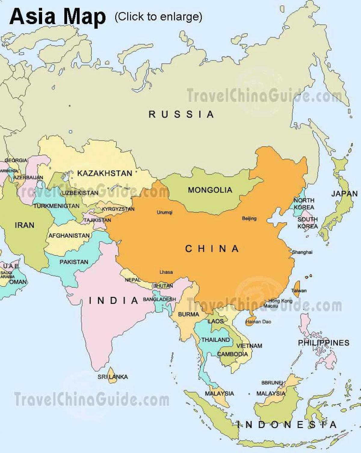 Kort Over Rusland Og Asien Rusland Asien Kort Ostlige Europa