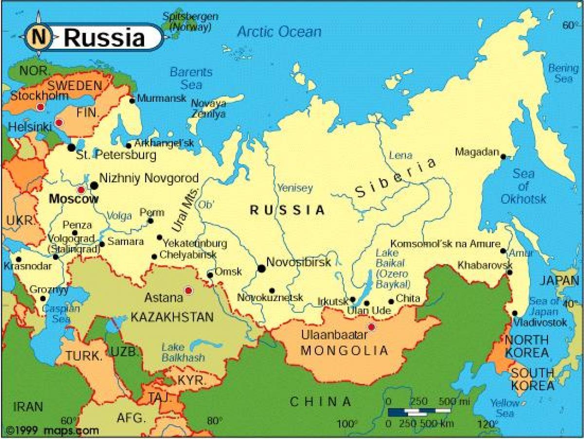 Russisk Lande Kort Kort Over Russiske Lande Osteuropa Europa